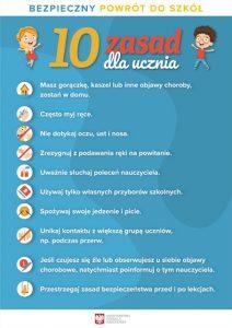 Bezpieczny powrót do szkoły plakat informacyjny rodzice COVID 19 od 01.09.202